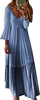 Therecoe86 Women Casual Formal Dress,Long Sleeve V Neck Stitching Pleated Large Swing Maxi Party Dress - Light Blue L