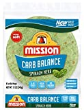 One 8 count package of Mission Carb Balance Spinach Herb Tortilla Wraps Only 3g of net carbs per serving High fiber 60 calories per tortilla Zero sugar and no trans fat or cholesterol