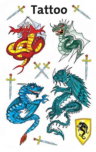 AVERY Zweckform 56404 Tattoo Kinder 11 Stück (Temporäre Tattoos Drachen, Kinder Tattoo wasserfest, Klebetattoos, Kindergeburtstag, Mitgebsel, Partyspiele Preise, Kinder zum Spielen, Tattoo Jungen)