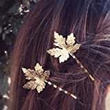 Kercisbeauty Juego de 2 horquillas para el pelo, diseño de hojas de arce, color dorado y plateado
