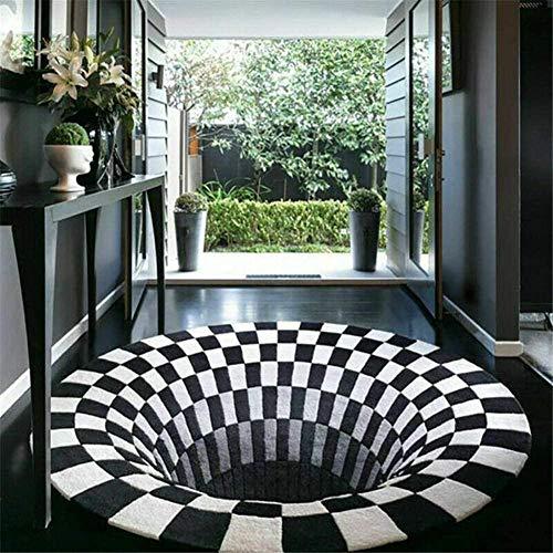 Alfombra Redonda 3D, Alfombra de ilusión óptica con Estampado de Remolino 3D, Alfombra Redonda de ilusión 3D con Rejilla Blanca y Negra , para Dormitorio, Sala de Estar-Los 80 * 80cm