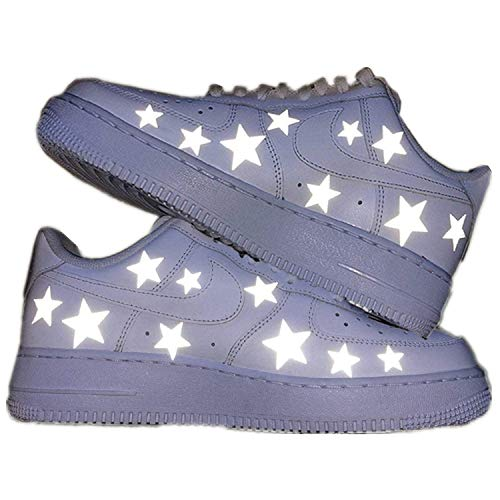 Havthcol Reflective 18 Stars Iron on Patches for Custom Air Force 1 |Perfect Reflective 18 Five-Pointed Star Stickers AF1 Sneaker Custom Shoes (2 stes)
