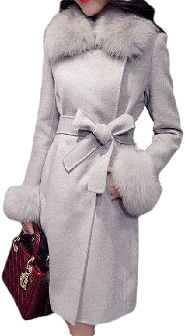 Women Thick Single Breasted Faux Fur Wool Blend Overcoat Pea Coat