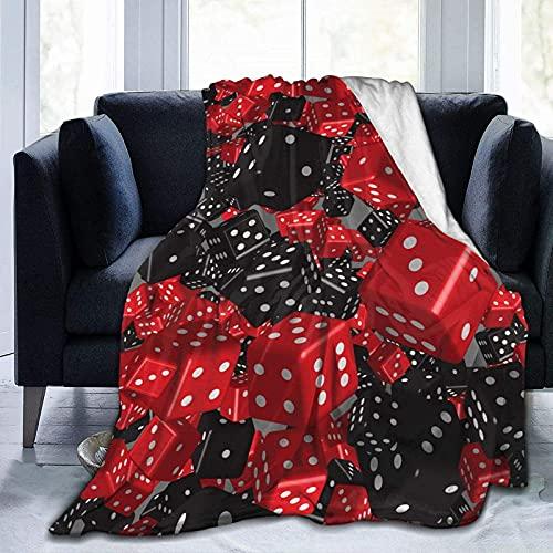 Cozy Blanket Franela Throws Fleece Fluffy Blanket Red Black Dice Lavable a máquina Cómoda Manta para el hogar, el automóvil y la Manta para Exteriores