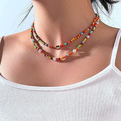 KONZFD Collana 2 pçs Boho grânulos de pérola Corrente gargantilha colares para Mulheres Colar estético 2021 na Moda Roupas jóias Presente menina Amigo