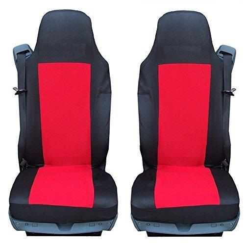2 x vrachtwagen stoelhoezen beschermhoes voor SCANIA 4-serie zwart-rood