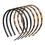 Ealicere 6 Piezas Liso Diademas de Plástico Diademas de Peine de Dientes Bandas de Cabello Unisexo Fina Diadema Plano Aro de Pelo para Niñas Mujeres Minimalista (Estampado de Leopardo Café, Negro)