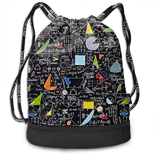 Stylish Drawstring Bag Bundle Backpack with Inside Zipper Pocket, Water-Resistant Sackpack for Men Women Girls Boys Students Teens (Back To School Algebra Black)