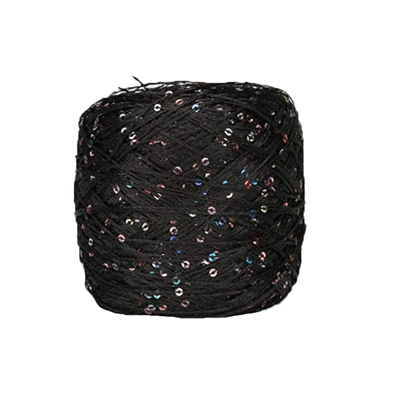 Clisil Black Sequin Yarn,Sparkle Yarn,Sequin Theread,Accessories,Fantasy Yarn,Polyester Yarn,Lace Yarn,Lame Yarn,Art Yarn Summer Bag Yarn 100g