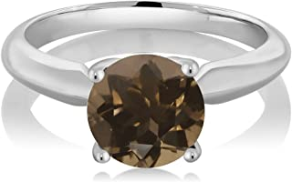 1.70 Ct Round Brown Smoky Quartz 925 Sterling Silver Solitaire Solitaire Engagement Ring