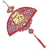KESYOO Decoración china de Año Nuevo con borla, forma de sector, elementos tradicionales, amuleto de la suerte en Año Nuevo, ventana colgante para la pared, para primavera, Año Nuevo, Navidad