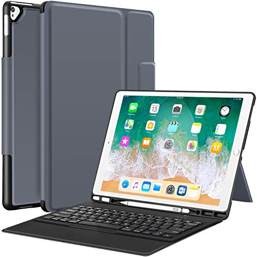 Sounwill ipad pro 12.9 Case with Keyboard Compatible for ipad pro 12.9' 2015/2017, Ultra-Thin PU Leather Silicon Rugged Shock Keyboard Stand Case with Pencil Holder (Not Fit for 2018 New ipad)-Gray