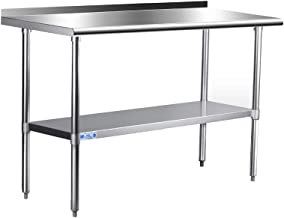 Commercial Stainless Steel Work & Prep Table 24 x 60 Inches, Adjustable Heavy Duty Table with Backsplash and Undershelf for Kitchen and Restaurant