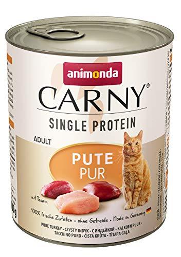 animonda Carny Single Protein adult Katzenfutter, Nassfutter für ausgewachsene Katzen, Pute Pur, 6 x 800 g