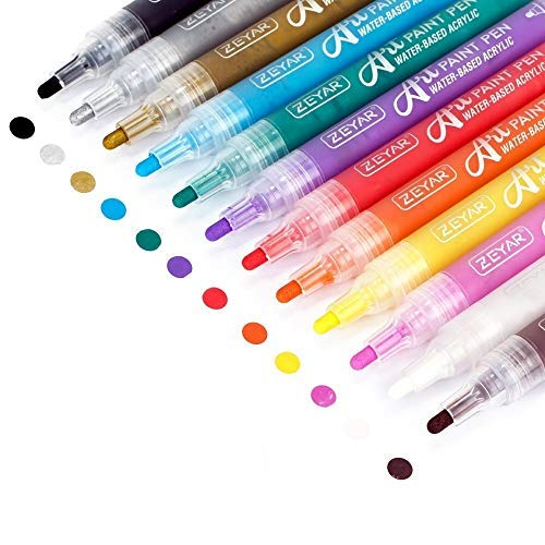 ZEYAR Acrylic Paint Pens for Rock painting, 12 colors, Water based Medium Point, Assorted Colors,Odorless,Acid Free,Non-Toxic and Safe to Use