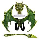 SMNVCKJ Disfraz infantil para carnaval, disfraz de demonio, alas de dragón, cola, juego de máscara. verde toas