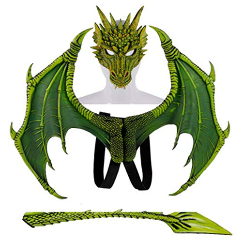 SMNVCKJ Disfraz infantil para carnaval, disfraz de demonio, alas de dragn, cola, juego de mscara. verde toas
