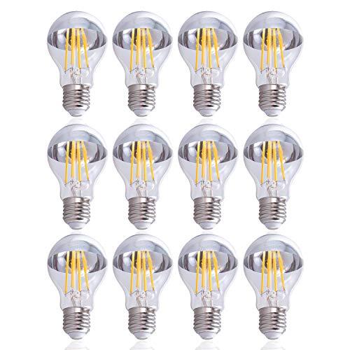 Paco Home LED Glödlampa A60 För E27 Fattning Ljuskälla M. Krom Toppförspeglad, Dimbar, Färg:Toppförspeglad 12-pack