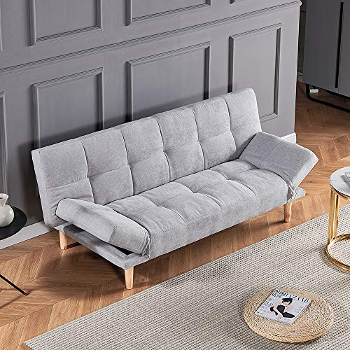 Homesailing EU 3 Seater linen Fabric Foldable Sofa Bed Settee Bed with Solid Wood Legs Recliner Couch Bed Modern Small Space Sofa Bed for Living Room Office Reception Room