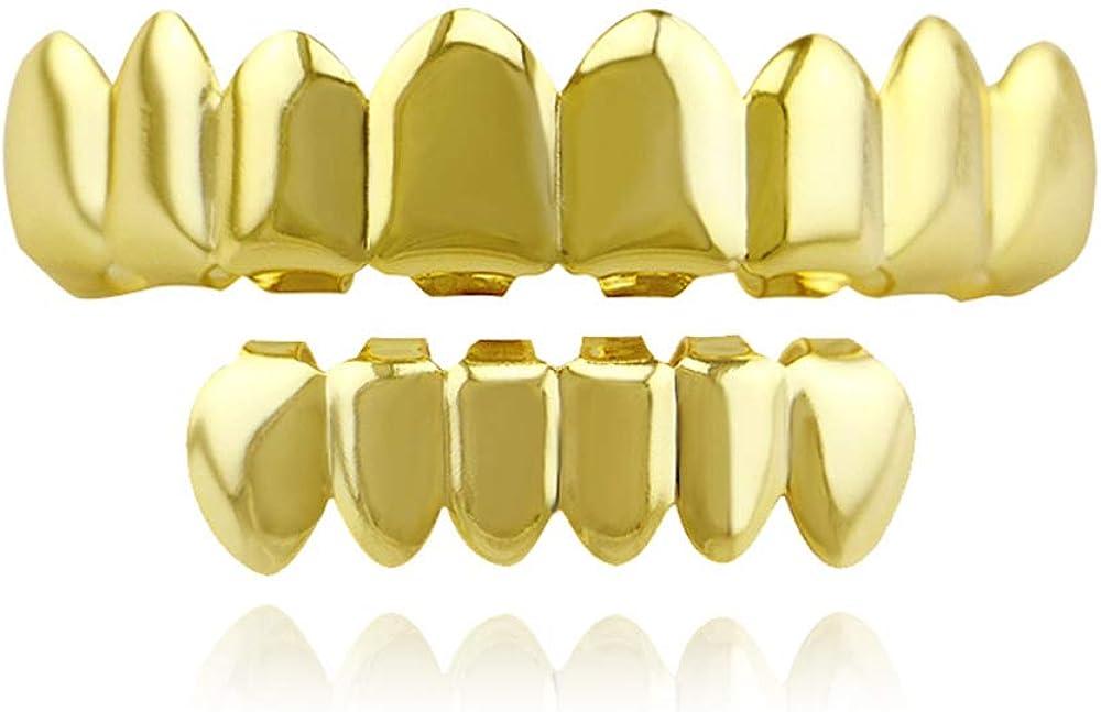 OOCC 8 Teeth Grillz 18k Gold Top and Bottom Grills Set Shiny Hip Hop Teeth Grillz
