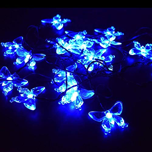 AXXWXX Jardín al aire libre de cuento de hadas solar 20LED Blue Butterfly Style 4.8M / 16ft Jardín de iluminación a prueba de agua