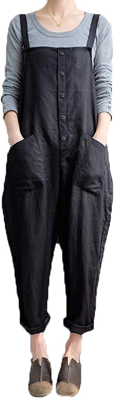 Women's Baggy Wide Leg Overalls Casual Jumpsuit Rompers Harem Pants