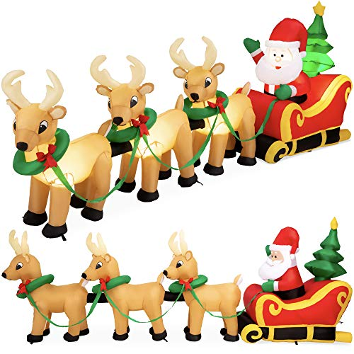 Best Choice Products 9ft Lighted Inflatable Christmas Decoration Santa Claus Sleigh & Reindeer Indoor Outdoor for Yard, Garden, Driveway, Large Room w/Heavy-Duty Stakes, Electric Fan Blower