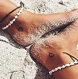 Jovono concha de múltiples capas tobillera ocultar cuerda pulseras de tobillera Moda joyería de la playa para las mujeres y