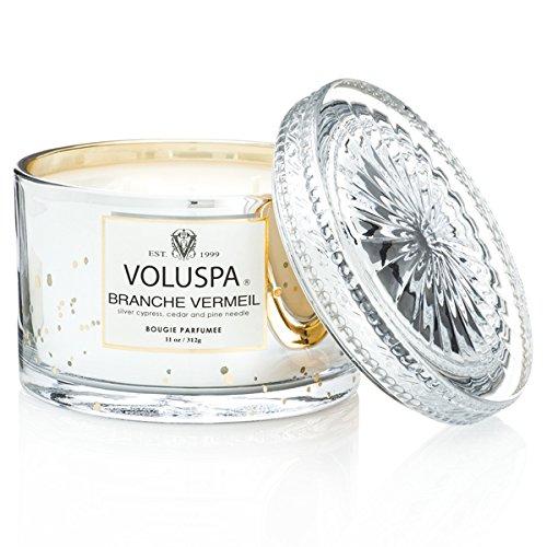Voluspa Branche Vermeil–Doble Mecha Vela con Grabado de Cristal