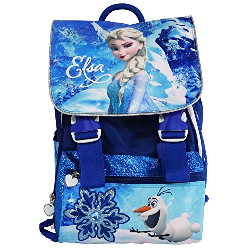 Disney Elsa Frozen Zaino Estensibile Scuola Elementare Medie con Gadget in Omaggio