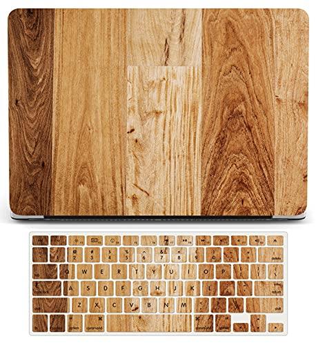 L2W Carcasa rígida de plástico madera compatible con Macbook Pro de 13 pulgadas A1502 A1425 versión 2015-2012,funda protectora mate para computadora portátil funda para teclado, grano de madera marrón
