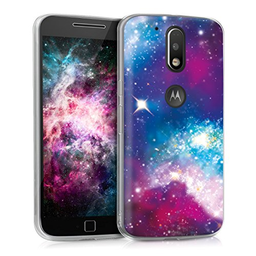 kwmobile Case Compatible with Motorola Moto G4 / Moto G4 Plus - TPU Crystal Clear Back Protective Cover IMD Design - Outer Space Multicolor/Dark Pink/Black