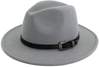 Fashion Women Men Fedora Hat with Leather Belt Wide Brim Hat Fashion Autumn Winter Hat WUXiaodanfhat (Color : Gray, Size : 56-58)