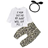 Inflant Baby Girl Leopard Outfit Long Sleeve My Aunt Says Yes Shirts Tops Long Pants Heaband Clothes (0-6 Months, A)