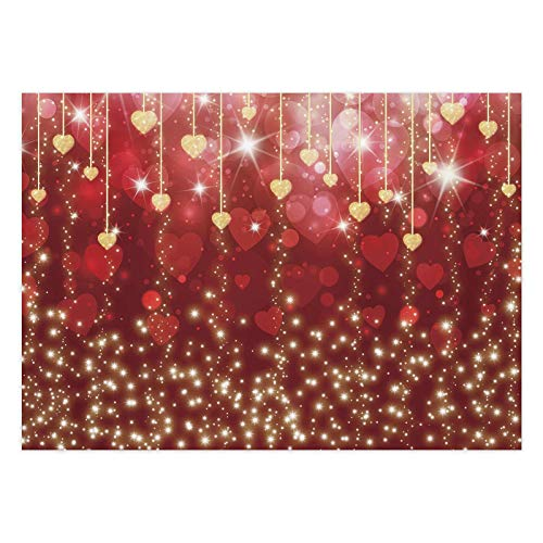 Funnytree 7x5FT Valentine's Day Photography Backdrop Bokeh Hearts Sparkling Gold Red Background Love Wedding Romantic Baby Mother's Day Bridal Shower Party Decoration Supplies Photo Booth Props
