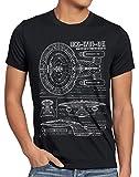 style3 NCC-1701-D Cianotipo Camiseta para Hombre T-Shirt Fotocalco Azul Trek Trekkie Star, Talla:L, Color:Negro
