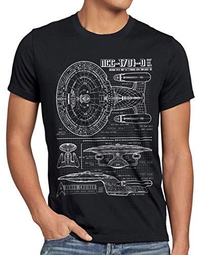 style3 NCC-1701-D Cianotipo Camiseta para Hombre T-Shirt Fotocalco Azul Trek Trekkie Star, Talla:XL, Color:Negro