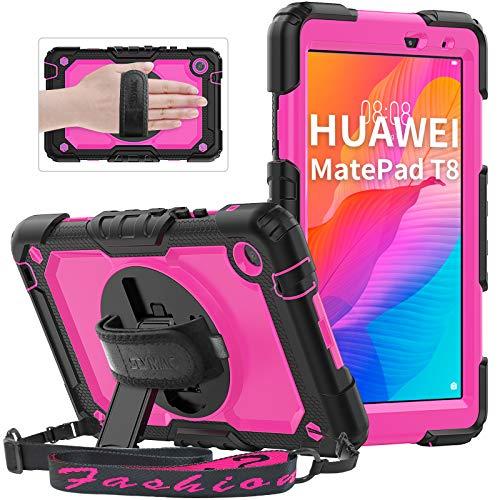 Huawei MatePad T8 2020 Funda de 8.0 Pulgadas con protección de Pantalla integrada, Funda Robusta a Prueba de Golpes SEYMAC con Soporte de 360 Grados para Huawei MatePad Tablet T8, Rosa
