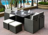 Garden Rattan Cube Dining Sets 9pcs Furniture - Glass Top Table 4 Chair & Stool