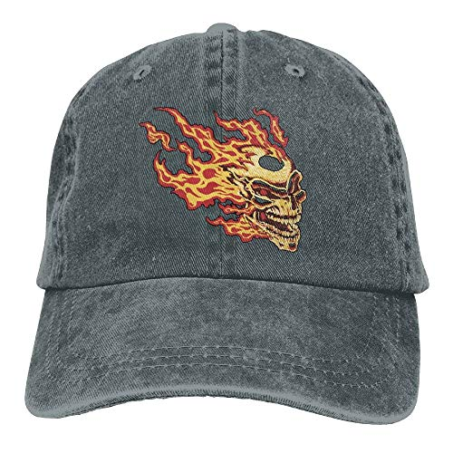 Scary Flaming Skull Denim Hat Adjustable Women Curved Baseball Caps, One Size Baseball Cap Adjustable Dad Hat Unisex Sports Trucker Cap Peaked Cap for Men Women Adults