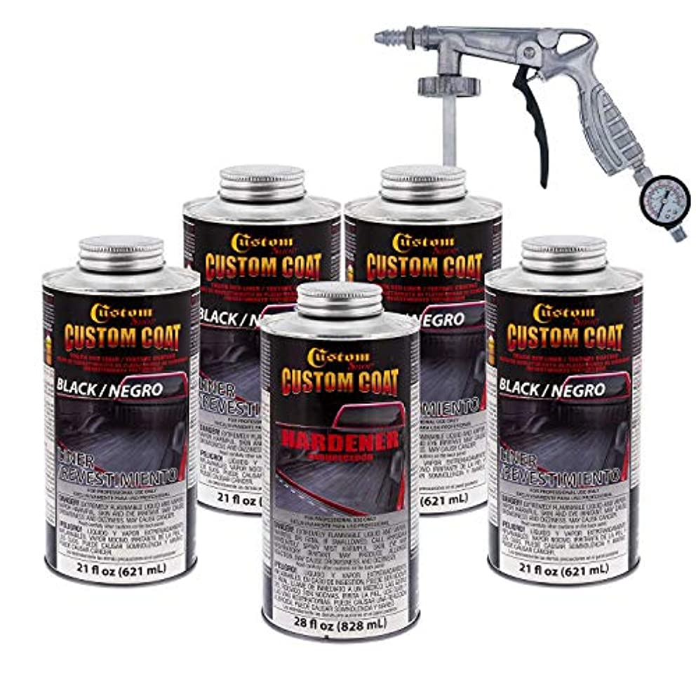 Custom Coat BLACK 0.875 Gallon Urethane Spray-On Truck Bed Liner Kit with Spray Gun with Regulator