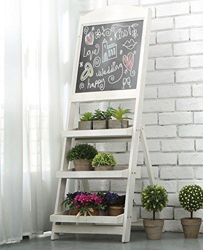 Vintage White Freestanding Wooden Chalkboard Easel with 3 Display Shelves