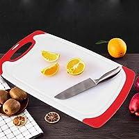 ホームレストランのキッチンアクセサリー用の人間化されたハンドル耐久性のあるまな板、滑り止めパッドまな板(red)