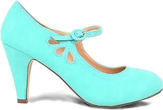 Chase & Chloe Kimmy-21 Women's Round Toe Pierced Mid Heel Mary Jane Style Dress Pumps