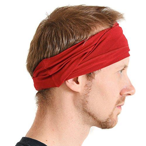 CHARM Mens Womens Elastic Bandana Headband Japanese Long Hair Dreads Head Wrap Red