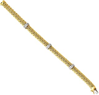14k Two Tone Yellow Gold 7.25in .05ct Diamond Link Mesh Bracelet 7.25 Inch Fine Mothers Day Jewelry For Women Gifts For Her