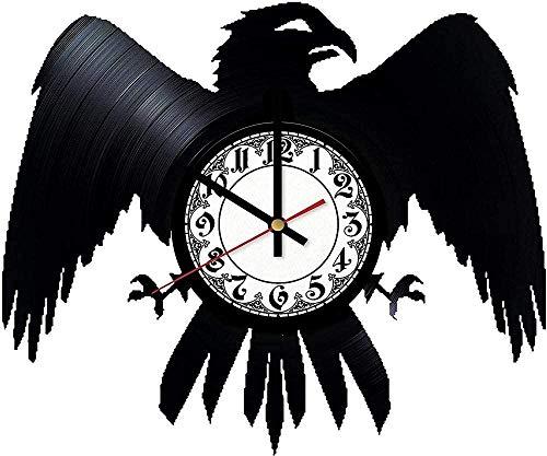zgfeng Reloj de Pared de Vinilo Decorado Retro Moderno de Cuervo Reloj de Pared de Vinilo-con LED