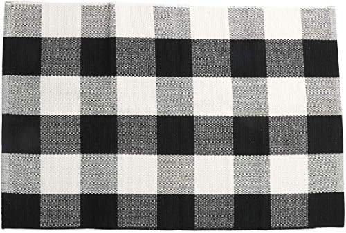 SHACOS Buffalo Check Rug 2x3 ft Cotton Woven Rug Doormat Throw Rug for Entryway Kitchen Bathroom Laundry Room (2'x3', Black White)