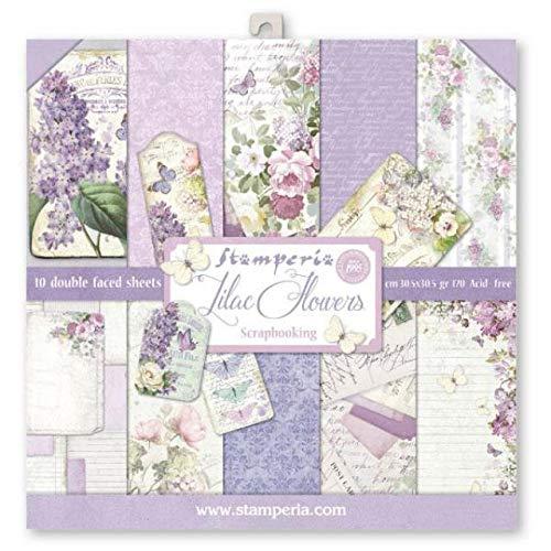 STAMPERIA Bloc de papel (10 hojas, doble cara), color lila, multicolor, 30 x 30