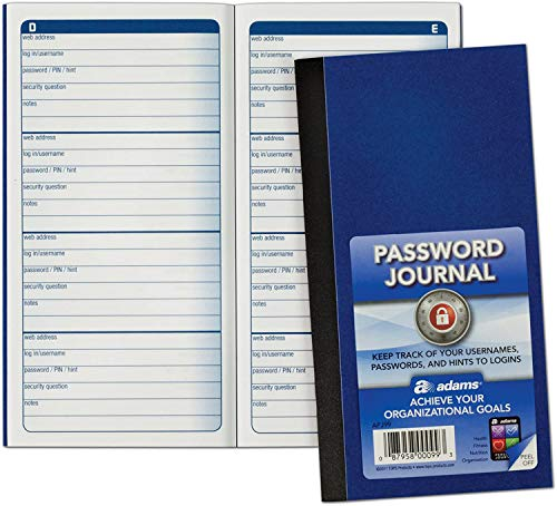 "Adams APJ99 6.25"" X 3.25"" Password Journal"
